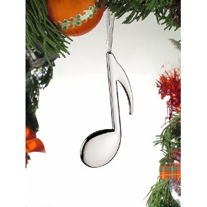 Silver Double 8th Note Musical Instrument Ornament 5 Inches by Broadway [並行輸入品]