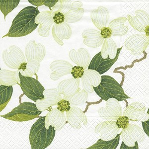Entertaining with Caspari White Blossom Paper Cocktail Napkins, Pack of 20 [並行輸入品]