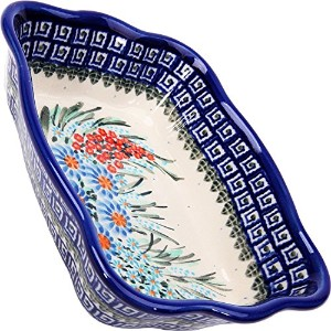 Polish Pottery Ceramika Boleslawiec 1208/169 7-3/4 by 6-1/8-Inch Fala Baker, Royal Blue Patterns,...