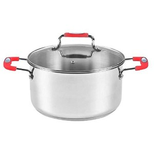 Europware 0130-30CA Stainless Steel 8.2 quart Casserole Pan with Glass Lid, Large, Silver/Red ...