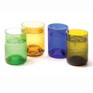 Oenophilia Recycled Glass Wine Bottle Tumblers, Assorted Colors - Set of 4 [並行輸入品]