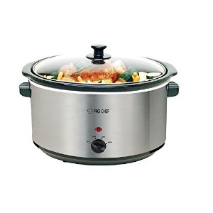 Pro Chef 8.5 Quart Oval Stainless Steel Slow Cooker with Auto Mode and Cool Touch Handles by Pro...