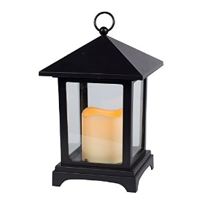 Gerson 9-Inch Over Size Roof Black Plastic and Glass Pane Lantern with 2.5 by 3-Inch Indoor/Outdoor...