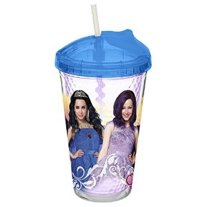 Zak! Designs Royal Insulated Tumbler with No-spill Flip-up Straw featuring Descendants Characters...