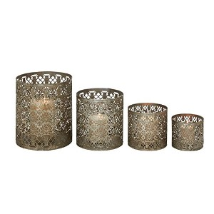 Deco 79 Metal Candle Holder, 10 by 8 by 6 by 4-Inch, Set of 4 [並行輸入品]