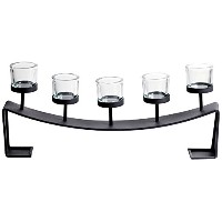 Home Source 500-29148 Table Top 5-Candle Holder, 21 by 3 by 6-Inch, Black/Clear [並行輸入品]