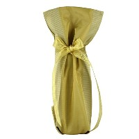 CHC-Beverly Hills SEXY, High End Wine/ Champagne Fabric Gift Bag Yellow-Gold and Gold Ribbon One...