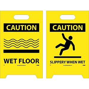 NMC FS1 Double Sided Floor Sign, 'CAUTION WET FLOOR - SLIPPERY WHEN WET', 12' Width x 20' Height,...