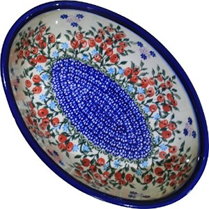 Polish Pottery Ceramika Boleslawiec 1210/282 Royal Blue Patterns 5-Cup Oval Mirek Baker, 9-2/3 by 6...