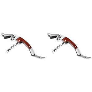 Visol Tassin Stainless Steel with Wood Grain Handle Corkscrew (2 Pack), Silver [並行輸入品]