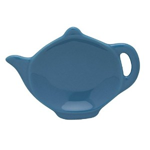 HIC Teapot-Shaped Tea Bag Holder and Resting Caddy, High-Fired Ceramic, Bayberry, 4.5-Inches [並行輸入品]
