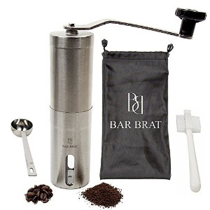 Hand Manual Coffee Grinder Maker by Bar Brat / Bonus Travel Bag, Coffee Spoon & Cleaning Brush / Grind Beans With Adjustable Crank, Portable & Aeropress Compatible / 110 Cocktail Recipe Ebook Included [並行輸入品]