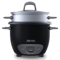 Aroma 6-Cup (Cooked) Pot Style Rice Cooker and Food Steamer, Black [並行輸入品]
