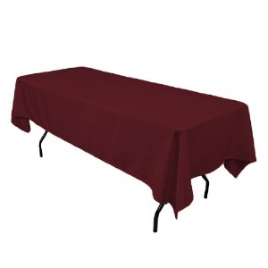 LinenTablecloth 60 x 102-Inch Rectangular Polyester Tablecloth Burgundy [並行輸入品]