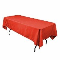 LinenTablecloth 60 x 102-Inch Rectangular Polyester Tablecloth Red [並行輸入品]