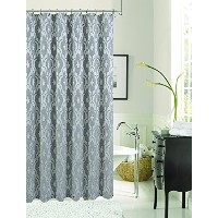 Dainty Home Gramercy Park Fabric Shower Curtain, 72 by 72'', Silver [並行輸入品]