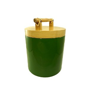 Bodhi Tree Collections Palm Green Spun Bamboo and Lacquer Canister, Medium, Palm Green [並行輸入品]