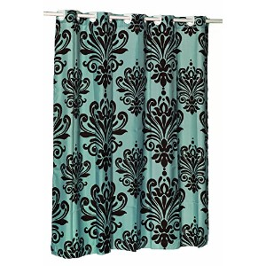 Carnation Home Fashions EZ-ON 'Beacon Hill' Polyester Shower Curtain, Chocolate on Spa Blue [並行輸入品]