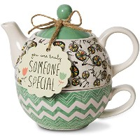 Pavilion Gift Company 74072 Bloom Someone Special Ceramic Tea for One, 15 oz, Multicolor [並行輸入品]