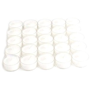 Tag 610799 Set of 25 High Quality Long Burning Tealights Clear Cup with White Wax [並行輸入品]