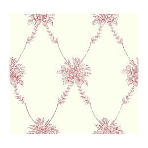 York Wallcoverings AT4166SMP Ashford Toiles Bouquet Trellis 8-Inch x 10-Inch Wallpaper Memo Sample,...