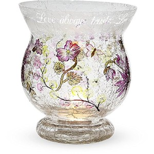 Mark My Words 6-Inch Tall Hurricane Crackled Glass Candle Holder, Love Sentiment [並行輸入品]