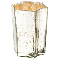 Insideretail Hexagon Mercury Glass Silver Tea Light Holders with Distressed Silver Foil, 10cm, Set...