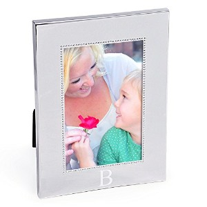 Cathy's Concepts Personalized Silver Beaded Picture Frame, Vertical, Monogrammed Letter B [並行輸入品]