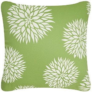 Wabisabi Green Dahlia Decorative Modern Organic Cotton Square Throw Pillow Cover, 18 by 18-Inch,...