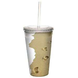 Tree-Free Greetings 80090 Footsteps Collectible Art Double Wall Cool Cup with Straw, 16-Ounce,...