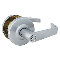 Global Door Controls Brushed Chrome Eiffel Style Commercial Storeroom Leverset with Removable Bolt ...