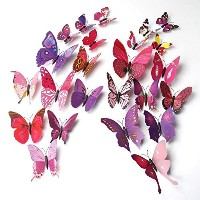 ElecMotive 24 Pcs 3D Butterfly New Home Decoration DIY Removable 3D Vivid Special Man-made Lively...