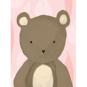 Oopsy Daisy T.R. The Bear Powder Pink Stretched Canvas Wall Art by Meghann O'hara, 18 by 24-Inch ...
