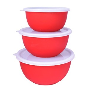 Cuissentials 3Pieceレッドステンレススチールミキシングボウルセットwith Lids Storing & Serving