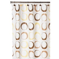Carnation Home Fashions Brown Circles Peva Shower Curtain and Matching Resin Shower Curtain Hooks ...