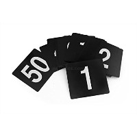 New Star Foodservice 23145 Double Side Plastic Table Numbers, 1 to 25, 4 by 4-Inch, White on Black ...