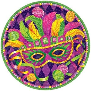 "Amscan Venetian Masquerade Mardi Gras Party Dinner Paper Plates (8 Piece), Multi Color, 6.4 x 6.4"" ..."