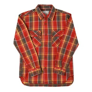 AVIREX DAILY L/S COTTON FLANNEL CHECK SHIRT【6165132-034-RED】