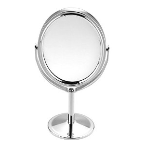 Beauty MakeUp Mirror Dual Side Normal+Magnifying Oval Stand Compact Mirror Cosmetic Mirror