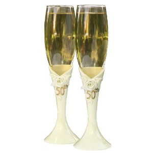 Hortense B. Hewitt Wedding Accessories 50th Anniversary Pearl Rose Champagne Toasting Flutes, Set...