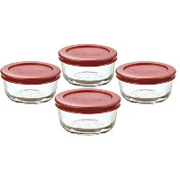 Anchor Hocking 1-Cup Round Food Storage Containers with Red Plastic Lids, Set of 4 by Anchor Hocking