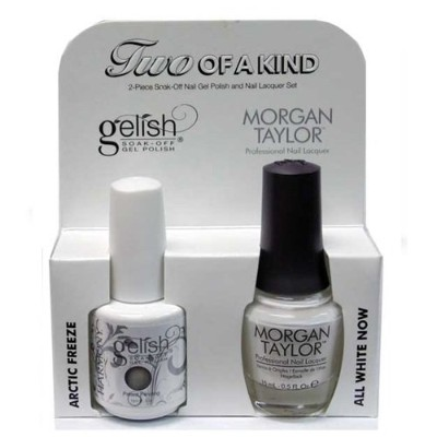 Harmony Gelish & Morgan Taylor - Two of a Kind - Arctic Freeze & All White Now - 0.5oz/15ml Each