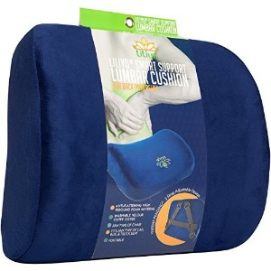 (Blue) - Smart Lumbar Support Back Cushion Pillow - for Lower Back Pain Relief by Liliyo, 3-Strap System (Blue)