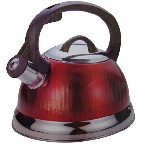 2.5 Qt Whistling Tea Kettle in Metallic Red by Home Select