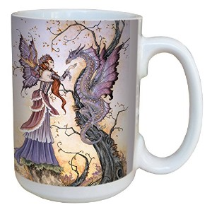 Tree-Free Greetings lm43557 Fantasy The Dragon Charmer Fairy Ceramic Mug with Full Sized Handle by Amy Brown, 15-Ounce [並行輸入品]