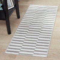 High Quality Checkered Stripes Area Rug, 1'8 by 5'