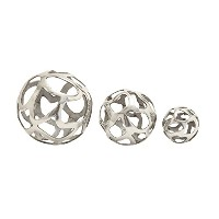 Deco 79 Aluminium Ball Decor, Silver, 8 by 6 by 4-Inch by Deco 79