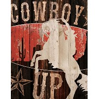 Cowboy Up Wild Mustang Western Distressedデザイン16 x 12 Woodラス壁アートSign Plaque