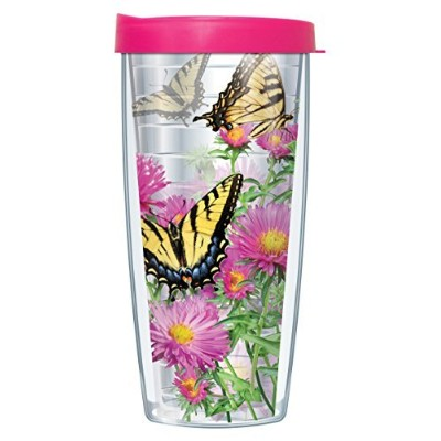Tiger Swallowtail ButterfliesクリアラップタンブラーMug with Lid 22 Oz 08-BUT3-CL+L