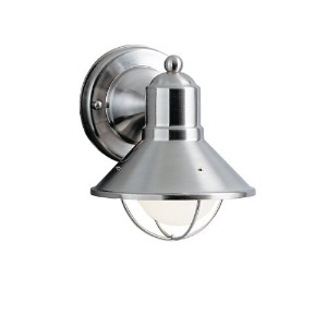 9021NI Seaside 1LT 7IN Exterior Wall Mount, Brushed Nickel Finish by Kichler